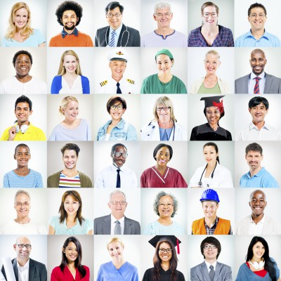Portraits of Multiethnic Mixed Occupations People